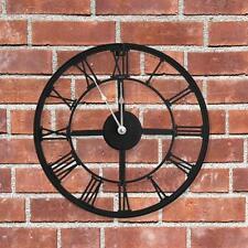 34CM LARGE BLACK METAL ROUND GARDEN/HOME WALL CLOCK VINTAGE ROMAN NEW SHABBY