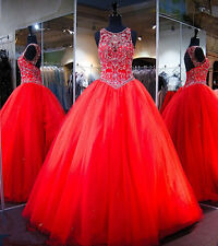 Red 2017 Beaded Ball Gown Prom Dresses Backless Quinceanera Formal Evening Dress
