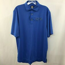Fj Footjoy Men's Blue stripe Active Polo Golf Shirt Stretch Polyester