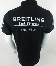 BREITLING JET TEAM MENS BLACK POLO SHIRT M SLIM FIT AUTHENTIC AVIATION BIG LOGO