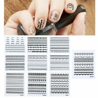 10x 3D Lace Design Nail Art Manicure Tips Sticker Decal Decoration, Black/ Green