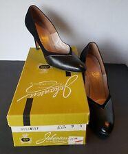 Vintage Leather Black Johansen Womens Size 9 High Heel Shoes