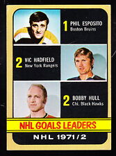 1972-73 TOPPS #61 PHIL ESPOSITO/VIC HADFIELD/BOBBY HULL
