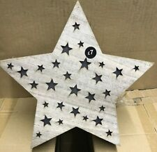 5 x SMALL WOODEN LIGHT UP STARS CHRISTMAS DECORATIONS SHOP NEW STAR LIGHTS XM94