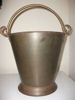"VINTAGE Lg. SOLID BRASS PAIL BUCKET, FIREPLACE KINDLING/DECOR.,INDIA, 11""x10.5"""