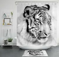 "71"" Black White Wild Tiger Shower Curtain & Hooks Bathroom Accessory Sets"