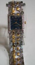 Men's Designer gold/silver Finish Blue Dial Nugget style bracelet fashion watch