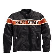 HARLEY-DAVIDSON Generations Jacket * Taglia M-Tessile Giacca in Nylon Nero Arancio