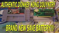 Super Nintendo SNES Donkey Kong Country Authentic Brand New Save Battery!!