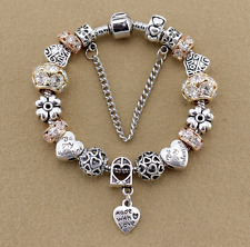 European 925 Sterling Silver Plated Snake Chain Charm Bracelets Jewelry