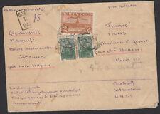 RUSSIE : Enveloppe Par Avion de ? 1949 2 Rouble Brun orange +15k vert Oblt CàDat