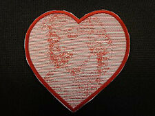 MARILYN MONROE EMBROIDERED PATCH HEART RED AND WHITE MADE IN USA