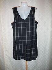 Gap Sleeveless Lined Dress size 14  Black Grey Plaid Zipper back NWT