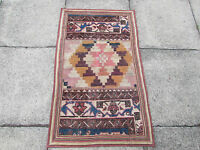 Old Traditional Hand Made Persian Oriental Patchwork Wool Brown Rug 113x67cm