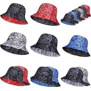 bandana bucket hats, Mens & ladies reversible paisley fisherman festival holiday