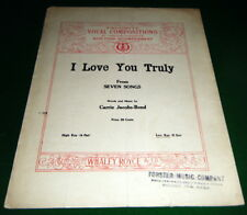 I LOVE YOU TRULY Sheet Music Carrie Jacobs-Bond, SEVEN SONGS, Toronto Canada