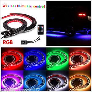 4 Pcs 12V Multi-Color Car Tube LED Neon Strip Underglow Lamp + Wireless Remote