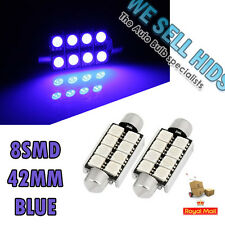 2 X  BLUE Festoon 42mm 8 SMD LED BULB  INTERIOR CEILING ROOF DOME BOOT GLOVE