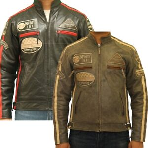Mens leather racing biker jacket with badges and stripes in Black and Brown