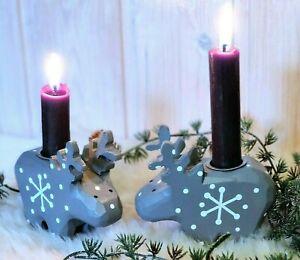 Rentier Holz Kerzenhalter bemalt grau Weihnachtsschmuck Weihnachtsdekoration