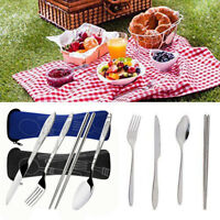 4 Piece Stainless Steel Knife, Fork, Spoon Portable Travel / Camping Cutlery Set