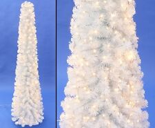 Künstliche Weihnachtsbaum Säule Kasan weiß 150cm mit 192 LEDs, 298 Zweigspitzen
