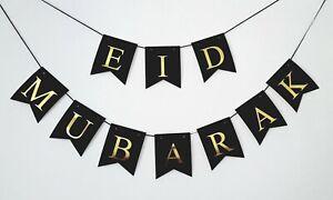 Eid Mubarak Banner Bunting Flags Black Gold Foil Wall Hanging Eid Decoration UK