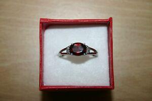 Garnet Tourmaline & Diamond Ring in Sterling Silver Size Q