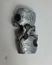New listing Double Skulls Pattern Metal Lighter Case Bottle Opener Standard Bic Style Holder