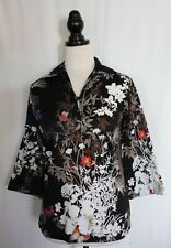 VINTAGE 1970s ~ Teddi of California Black White Red Blue Leaves Floral Blouse 12