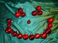 ~ Konvolut 19 alte Christbaumkugeln Glas rot Vintage Weihnachtsbaumkugeln CBS ~