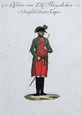 Reilly Org.altkol. Kupferstich Österreich Uniformen Offizier Scharfschützen 1796