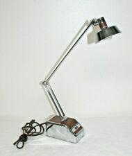 Vintage MCM Transformer Powered Chrome Woodgrain Desk Lamp Model 96