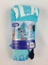 "Disney Frozen Hooded Bath Wrap Towel Olaf Want to Build Snowman 25"" x 50"" New"
