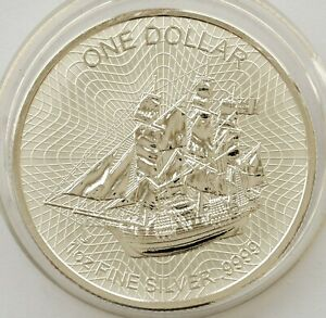 COOK ISLANDS 1 DOLLAR 2016 BOUNTY SHIP .9999 SILVER 1 OZ BU COIN