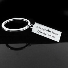 """Drive Safe Because I Love You""Car Stamped Keyring Keychain Bag Charm Lover Gift"