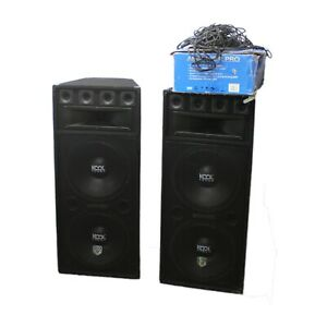 2x Kool 1000W Speakers With Skytec AMP-2000 Amplifier & Cables Kit - Tested