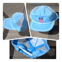 A Vtg Union Pacific Railroad Blue Mesh Embroidered Rope Brim Snapback Cap Hat