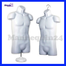 2 Male Mannequin Torso Pack + 1 Stand + 2 Hangers - White Mens Dress Form