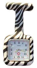 Nurses Fashion Coloured Patterned Silicon Rubber Fob Watches - SQUARE Zebra