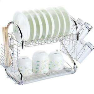 Multi-function 2-Tier Stainless Steel Dish Drying Rack Kitchen Storage Silver
