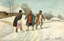 "Imperial Russia, ""The Quarrel"" - Russian Types & ca 1912 Artist Signed Postcard"