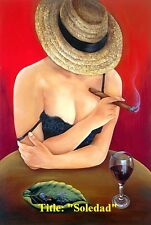 """Cuban Art. """"Soledad"""" Oil painting 18""""x 12"""" Signed by Artist."""