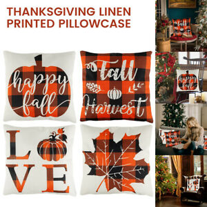 Fall Pillow Covers 18x18Inch 4Pcs Thanksgiving Day Pillow Covers Autumn Theme