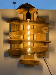 HANDMADE WALL LAMP RUSTIC, RETRO, Up cycled Wood, VINTAGE ***BULB Included***