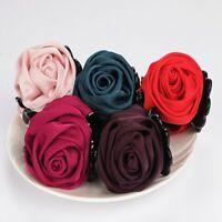 Women Elegant Chiffon Rose Flower Bow Jaw Clip Barrette Hair Claw..