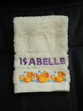 Personalised embroidered face cloth with rubber duck design