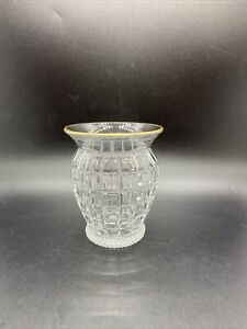 "Vintage Heisey # 1425 Victorian 4"" Vase Crystal With Gold Trim. Gorgeous Display"