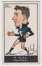 Carlton Football Club F Gill 1930's Bob Mirams Standard brand cigarette card