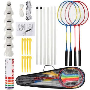 Professional Badminton Racquet Set 4 Player Racket Shuttlecock Poles Net Bag AUS